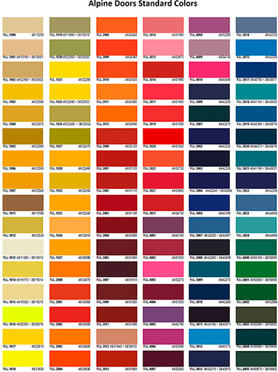 Alpine color chart