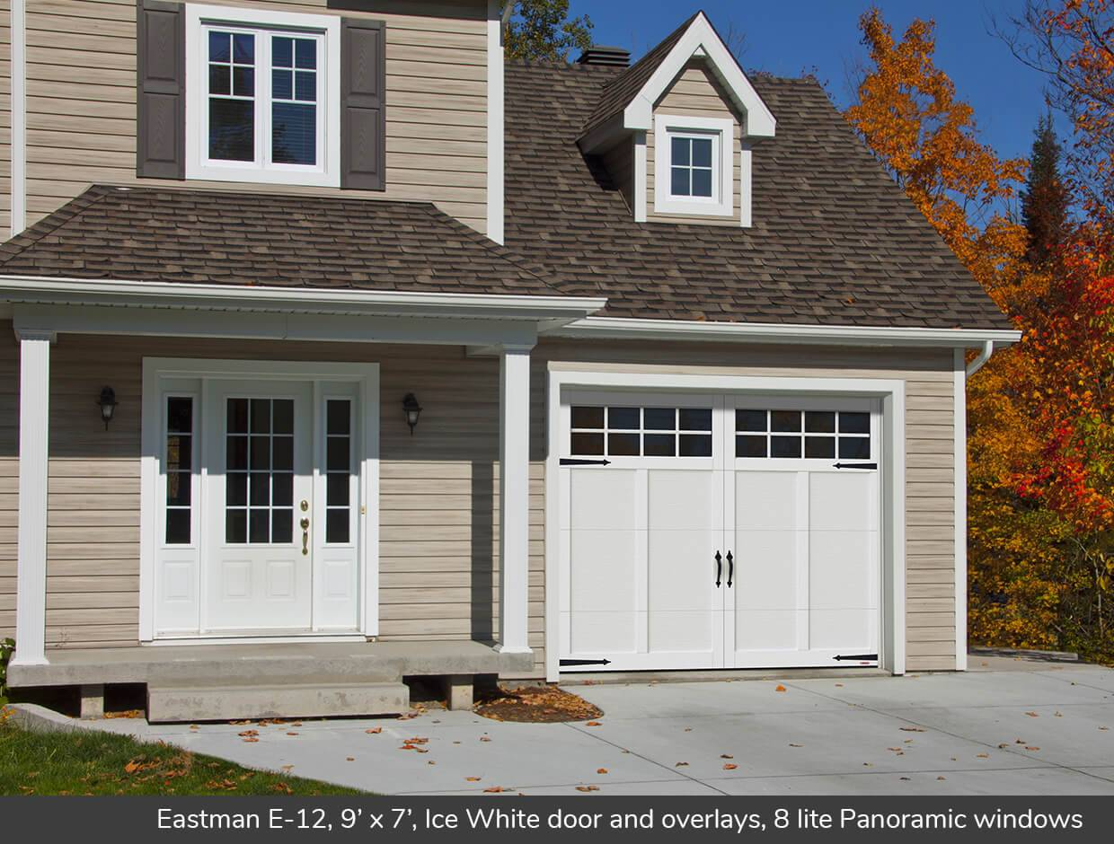 Eastman E-12, 9' x 7', Ice White door and overlays, Panoramic 8 lite windows